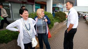 Taoiseach, Leo Varadkar meets Dorothy Harris and Margaret Chamberlain as he canvasses for a Yes vote in Rathfarnham. Photo: Damien Eagers