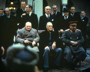 Winston Churchill, Franklin Delano Roosevelt and Joseph Stalin at the Yalta Conference, February 1945.  Photo by Hulton Archive/Getty Images