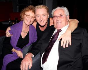Michael Flatley with parents Eilish and Michael Flatley Senior pictured after his show Lord of The Dance at The O2 Dublin. PIC BRIAN MCEVOY