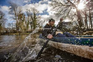 Vinny Hartigan leaving his home in Siddane outside of Gort by Boat.  Pic:Mark Condren 28.2.2020