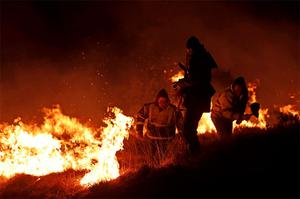 Locals and firefighters worked through the night to contain the gorse fire in the Barna area of Galway