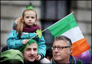 Enjoying the St Patricks Day Parade in Dublin was Lucy Mc Grath (5) from Lusk Co Dublin with her Dad Fergus Mc Grath