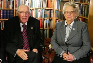 Hitting back: Ian Paisley and his wife Eileen during their BBC television interview this week, in which the former DUP leader attacked First Minister Peter Robinson.