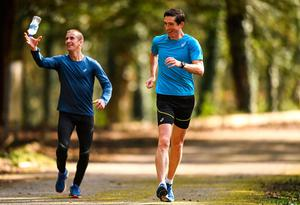 Tokyo-bound racewalker Brendan Boyce, right, with his coach and former World Champion Rob Heffernan during a training session at Fota Island in Cork yesterday. Photo: Eóin Noonan/Sportsfile