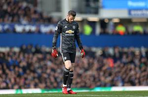 Manchester United's David de Gea reacts to his mistake in the Premier League draw with Everton at Goodison Park. Photo: Reuters/Carl Recine