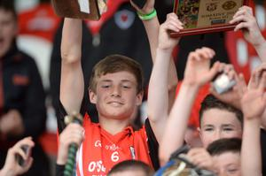 provision 250515 Cian Mc Carthy, Captain celebrates St Anthony's cup win over Gaelscoil ui Riordain  in the H1County Final, Sciath na Scol Chorcai yest. in the first GAA games to be played in Irish Independent Park. Pic Michael Mac Sweeney/Provision