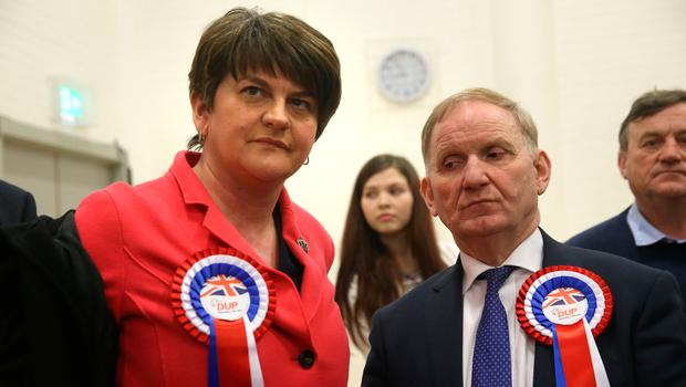DUP party chairman Lord Morrow (right) with DUP leader Arlene Foster at Omagh count centre as he failed to be re-elected in Northern Ireland's Assembly election. Photo: PA