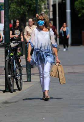 A member of the public wears a face mask in Dublin city centre yesterday.