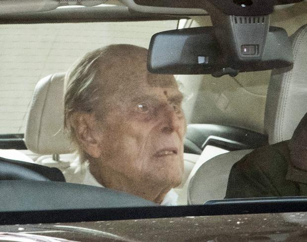 The Duke of Edinburgh is driven away in a car after leaving the King Edward VII's Hospital, London (Stefan Rousseau/PA)