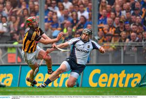7 September 2014; Eoin Larkin, Kilkenny, clashes with Tipperary goalkeeper Darren Gleeson. GAA Hurling All Ireland Senior Championship Final, Kilkenny v Tipperary. Croke Park, Dublin. Picture credit: Brendan Moran / SPORTSFILE