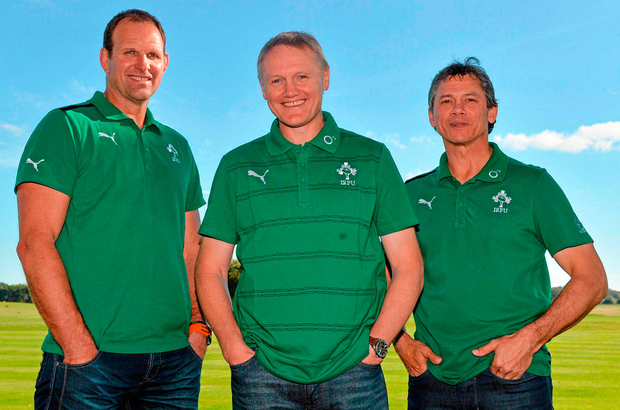 John Plumtree with Joe Schmidt and Les Kiss during his time with Ireland. Photo: Sportsfile