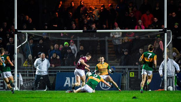 Galway's Shane Walsh of Galway shoots to score his side's second goal past Kerry goalkeeper Shane Ryan during the Allianz Football League Division 1 Round 2 match at Austin Stack Park in Tralee, Kerry. Photo: Diarmuid Greene/Sportsfile