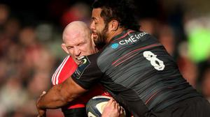 Paul O'Connell is tackled by Billy Vunipola in the Champions Cup encounter