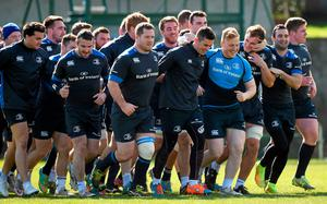 Leinster players share a light-hearted moment at training at Belfield this week ahead of tonight's Pro12 clash with Glasgow Warriors