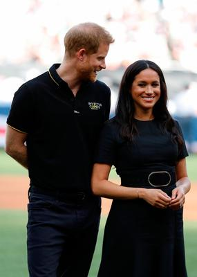 =Prince Harry, Duke of Sussex and Meghan, Duchess of Sussex attend the  Boston Red Sox vs New York Yankees baseball game at London Stadium on June 29, 2019 in London, England. The game is in support of the Invictus Games Foundation. (Photo by Peter Nicholls - WPA Pool/Getty Images)