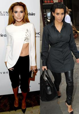 Kim started sporting slicked back hair in early 2013 (right), it wasn't long before Naya caught on (left)