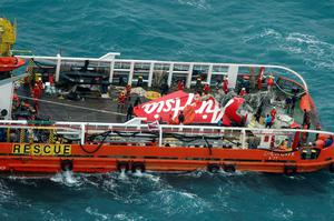 The tail of AirAsia QZ8501 passenger plane is seen on the deck of the rescue ship Crest Onyx after it was lifted from the sea bed, south of Pangkalan Bun, Central Kalimantan. The flight lost contact with air traffic control during bad weather on December 28