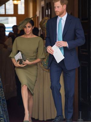 Britain's Prince Harry and Meghan, the Duchess of Sussex, leave the chapel after the christening of Prince Louis at the Chapel Royal Dominic Lipinski/Pool via REUTERS