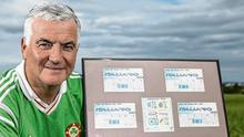 Souvenirs: Irish fan Brendan Walsh with match day tickets from all of Ireland's matches during Italia 90. Photo: Mark Condren
