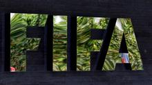 The FIFA logo at the FIFA headquarters in Zurich, Switzerland