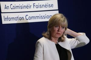 Ombudsman Emily O'Reilly, during a press conference, calling for more light to be shone on allegations that elite Garda officers colluded with a convicted drug trafficker.