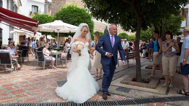 Wedding of Irish rugby union player Peter Stringer and Deborah O'Leary. Peter, who plays at scrum-half for Sale and Ireland, married his sweetheart today at 1pm at Nuestra Senora de la Encarnacion at the Plaza de la Iglesia, in the old town of Marbella.