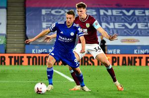 Jamie Vardy can find no way past Burnley's Jimmy Dunne last night. Photo: Rui Vieira/NMC Pool/PA Wire