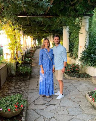 Prince Carl Philip and Sofia Hellqvist are seen during a visit at Villa San Michele on September 19, 2019 in Capri, Italy. Picture: Splash News