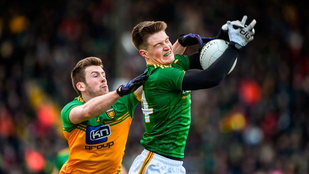 Thomas O'Reilly of Meath in action against Eoghan Bán Gallagher of Donegal during the Allianz Football League Division 1 Round 2 match at Páirc Tailteann in Navan, Meath. Photo: Daire Brennan/Sportsfile