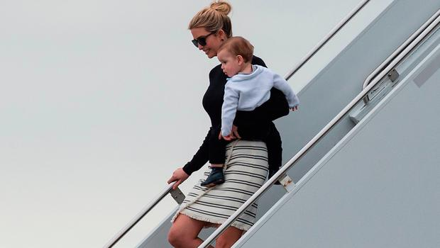 Ivanka Trump steps off Air Force One with her son Theodore upon arrival in West Palm Beach, Florida, on March 3, 2017. / AFP PHOTO / NICHOLAS KAMMNICHOLAS KAMM/AFP/Getty Images