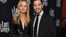 """Laura Whitmore and Giovanni Pernice attend the press night after party for """"The Last Tango"""" at The L'Escargot on September 28, 2016 in London, England.  (Photo by David M. Benett/Dave Benett/Getty Images)"""