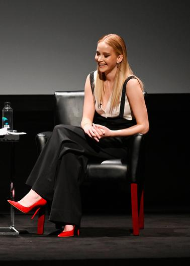 Jennifer Lawrence speaks at the Tribeca Talks - Director Series - David O. Russell with Jennifer Lawrence at the 2019 Tribeca Film Festival at BMCC Tribeca PAC on April 27, 2019 in New York City. (Photo by Nicholas Hunt/Getty Images for Tribeca Film Festival)