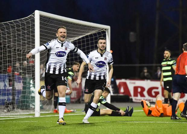 Dane Massey, left, and Michael Duffy of Dundalk celebrate their side's first goal