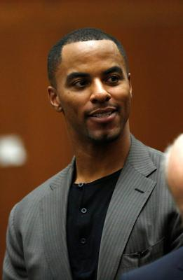 Former professional football player Darren Sharper appears for his arraignment at the Clara Shortridge Foltz Criminal Justice Center in Los Angeles, California