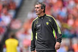 Donegal manager Jim McGuinness (pictured) and his Kerry counterpart Eamon Fitzmaurice will go head to head. Stephen McCarthy / SPORTSFILE