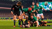 Jacob Stockdale celebrates scoring Ireland's try against the All Blacks in 2018. Photo: SPORTSFILE