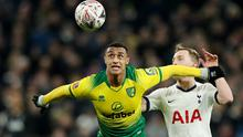 Norwich City's Adam Idah in action with Tottenham Hotspur's Oliver Skipp in the FA Cup fifth round clash at Tottenham Hotspur Stadium, London last March. Photo: Action Images via Reuters/Peter Cziborra