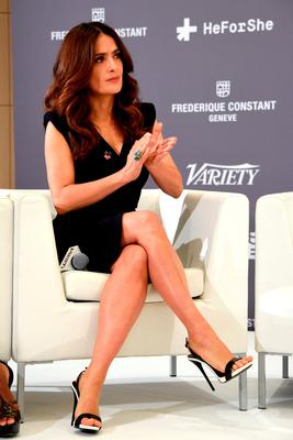 Salma Hayek attends the Variety Celebration of UN Women at Radisson Blu on May 16, 2015 in Cannes, France.  (Photo by Clemens Bilan/Getty Images for Frederique Constant)