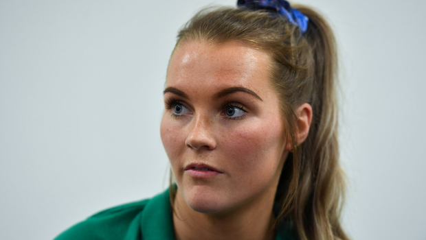 30 January 2020; Aoife Doyle during an Ireland Women's Rugby press conference at the IRFU High Performance Centre in Abbotstown, Dublin. Photo by Brendan Moran/Sportsfile