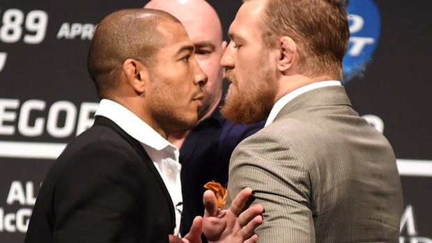 Jose Aldo and Conor McGregor face-off