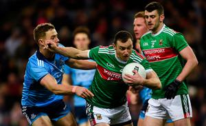 Keith Higgins of Mayo in action against Paul Mannion of Dublin during the 2019 Allianz Football League Division 1 Round 4 match at Croke Park in Dublin. Photo by Daire Brennan/Sportsfile