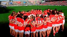 27 September 2015; The Cork players in a huddle before the start of the game. TG4 Ladies Football All-Ireland Senior Championship Final, Croke Park, Dublin. Picture credit: Paul Mohan / SPORTSFILE