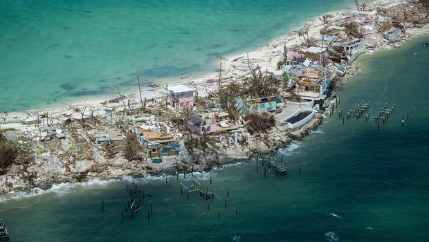 This Wednesday, Sept. 4, 2019 aerial photo, shows extensive damage from Hurricane Dorian over the Island of Abaco, Bahamas.  (Andrew West/The News-Press via AP)