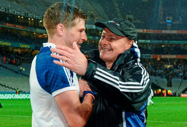 Monaghan manager Malachy O'Rourke celebrates with Darren Hughes after their All-Ireland qualifier victory over Kildare at Croke Park. Photo: Piaras O Midheach / SPORTSFILE