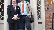 Dublin 16-06-15 Sen.David Norris with actor Stephen Fry outside the James Joyce Centre on North Great George's street today to celebrate Bloomsday.  Photos- John Dardis Pictured-Sen.David Norris and  Stephen Fry