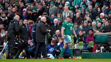 Sean O'Brien, Ireland, leaves the field after sustaining an injury in the first half. RBS Six Nations Rugby Championship, Ireland v England. Aviva Stadium, Lansdowne Road, Dublin. Picture credit: Stephen McCarthy / SPORTSFILE