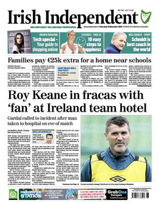 The front page of the Irish Independent today.
