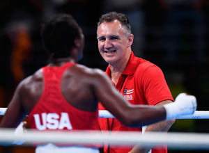 Ring master: Billy Walsh looks on from the edge of the ring during the last Olympic Games when Claressa Shields took gold. Photo: Sportsfile/Getty