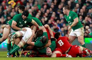Ireland's Paul O'Connell (bottom, C) reacts during their Six Nations rugby union match against Wales at Aviva stadium