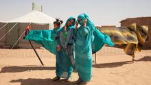 Sisters Jadija and Sara Salic photographed at Auserd Refugee Camp, Sahara. Picture: Clare Keogh
